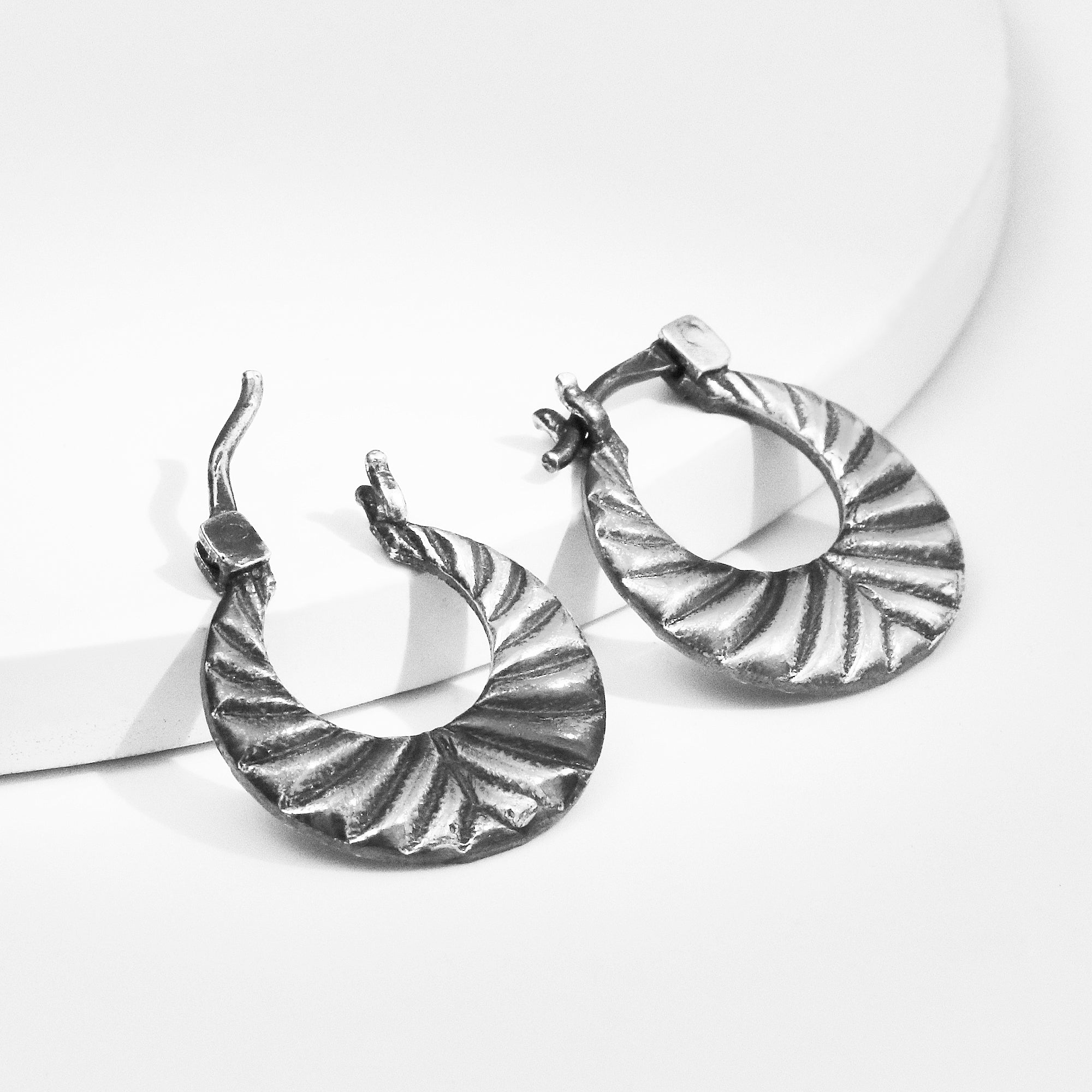 Oxidised Silver Bold Hoops