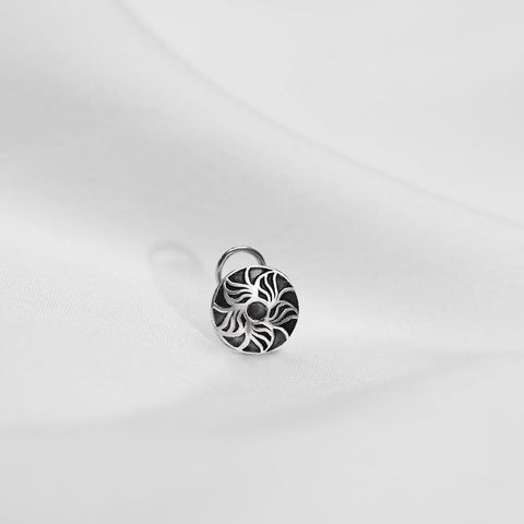 Oxidised Silver Chakra Nose Pin
