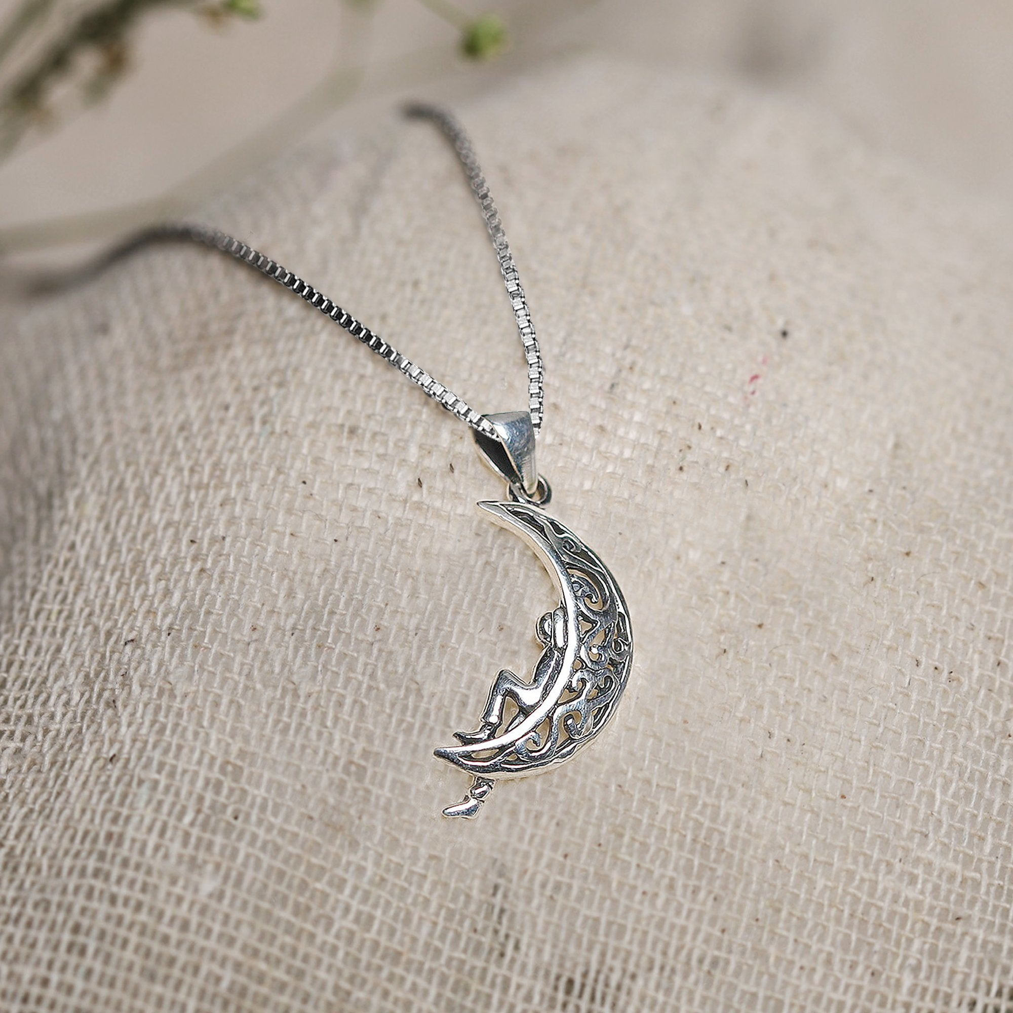 Oxidised Silver Unwind Moon Pendant with Box Chain