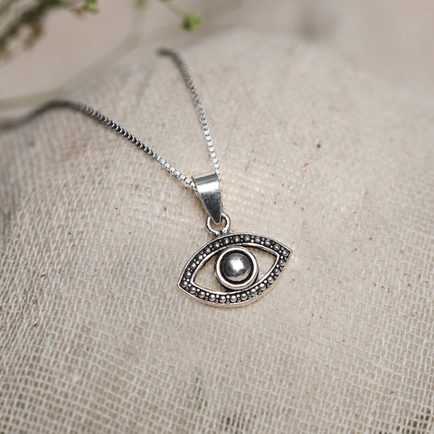 Oxidised Silver Evil Eye Pendant with Box Chain