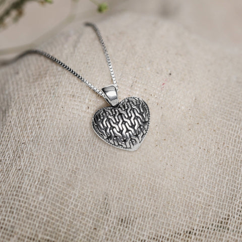 Oxidised Silver Charming Heart Pendant with Box Chain