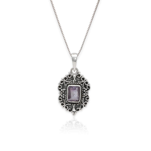 Oxidised Purple Elegance Pendant with Box Chain