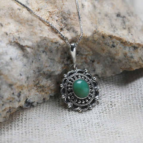 Oxidised Green Tribal Pendant with Box Chain