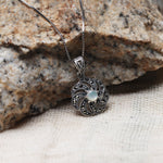 Oxidised Silver Swaying Flower Pendant with Box Chain