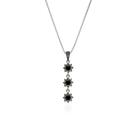 Oxidised Silver Stacked Flower Pendant with Box Chain