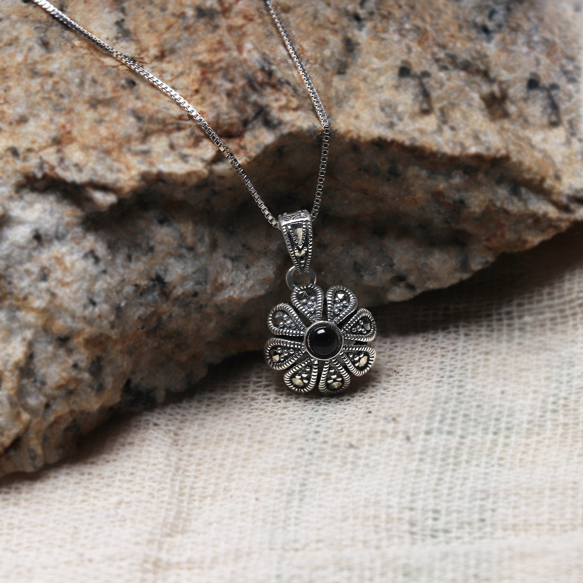 Oxidised Silver Black Flower Pendant with Box Chain