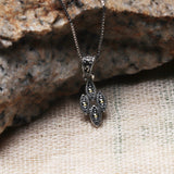 Oxidised Silver Dangling Leaf Pendant with Box Chain