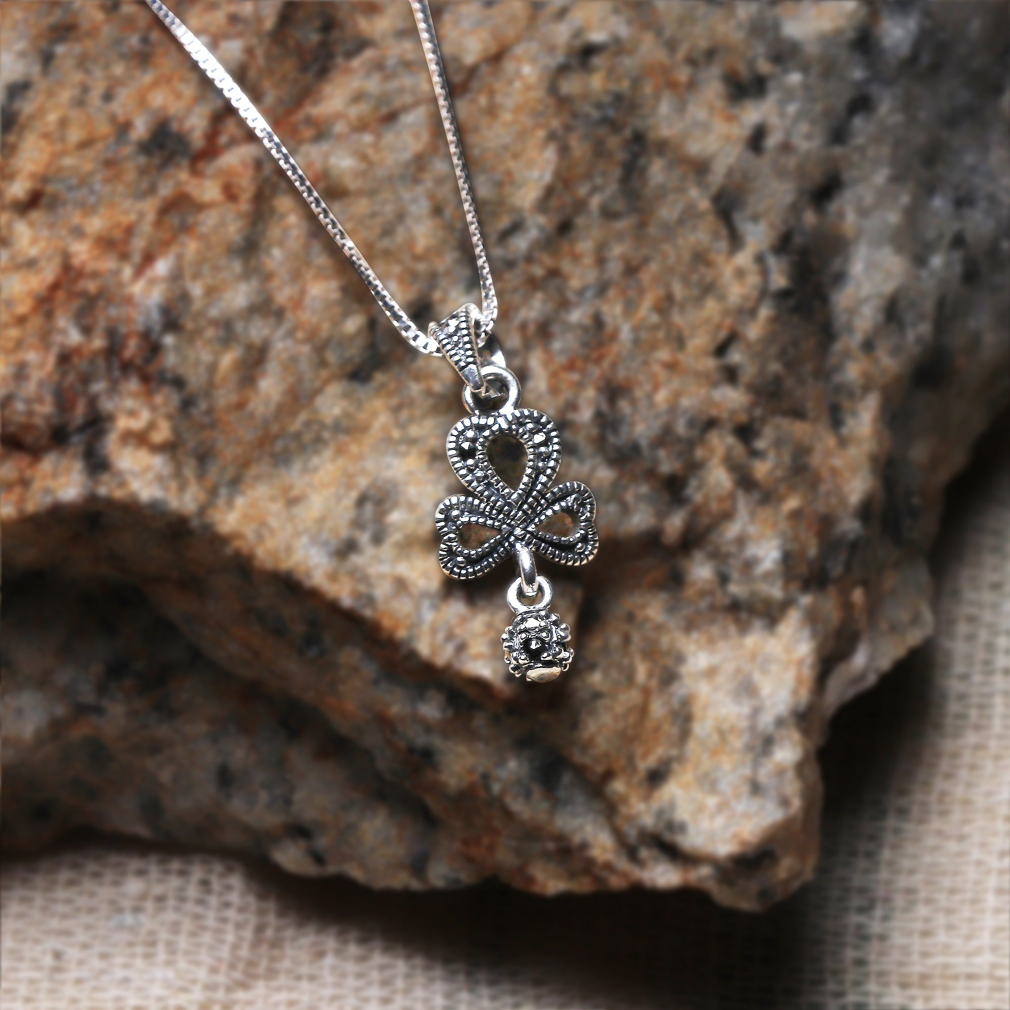 Oxidised Silver Clover Pendant with Box Chain