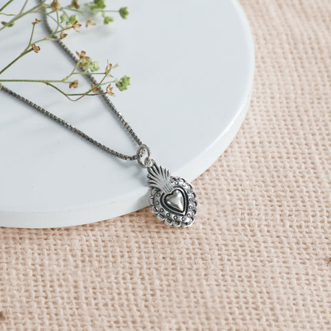Oxidised Silver Crown Heart Pendant with Box Chain