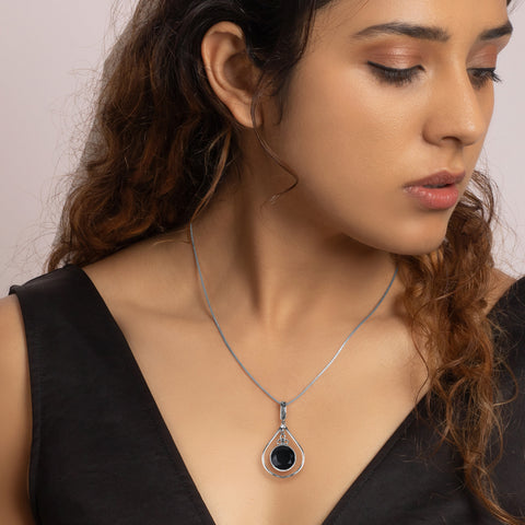 Oxidised Silver Black Drop Pendant with Box Chain