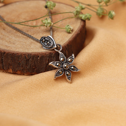 Oxidised Silver Flower Pendant with Box Chain