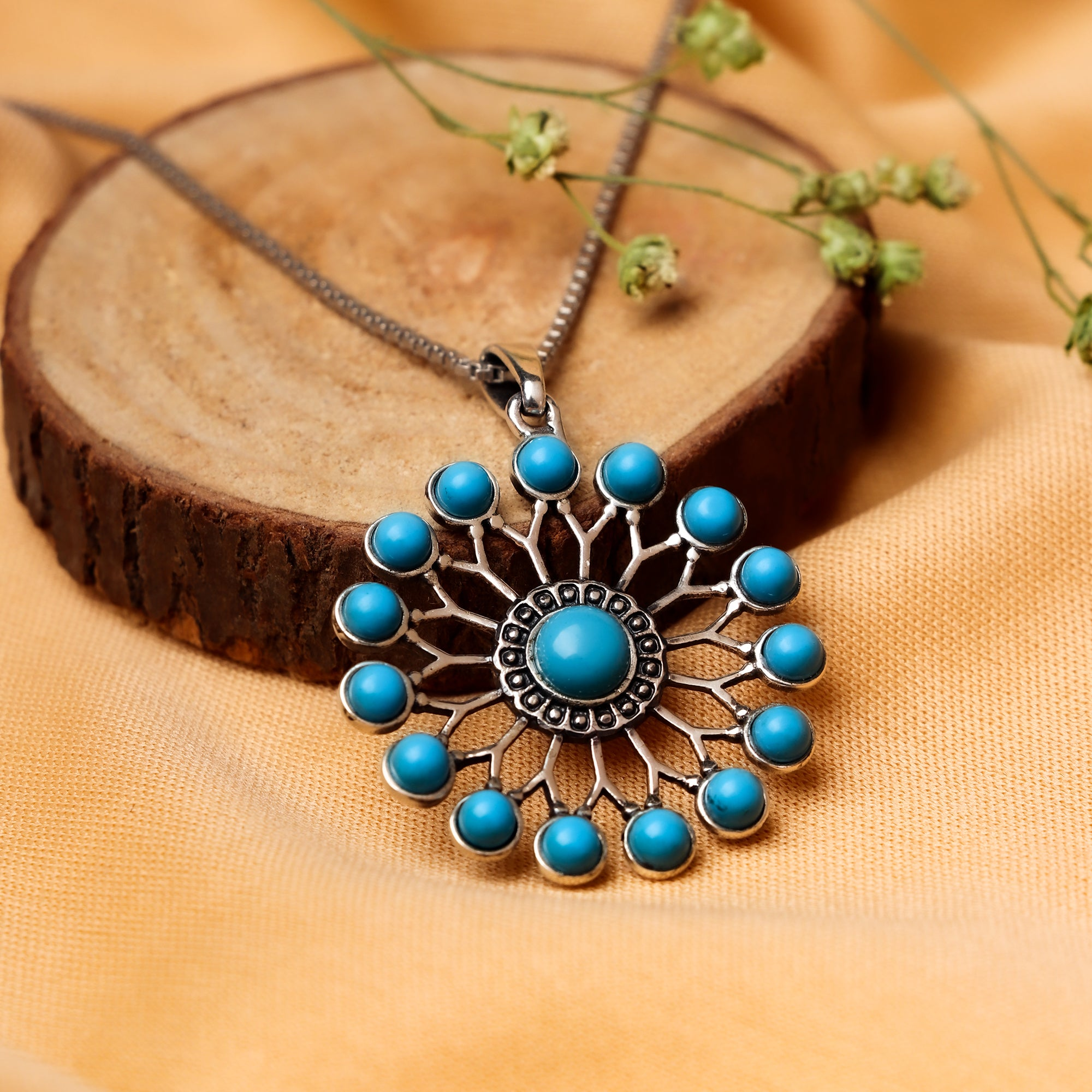 Oxidised Silver Turquoise Wheel Pendant with Box Chain