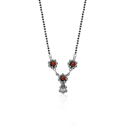 Oxidised Silver Mini Flower Mangalsutra