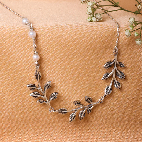 Oxidised Leaves Necklace
