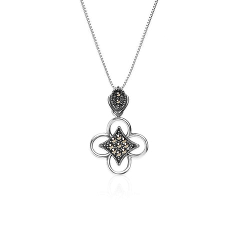 Oxidised Silver Bloom Pendant with Box Chain