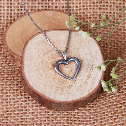 Oxidised Silver Minimal Heart Pendant with Box Chain