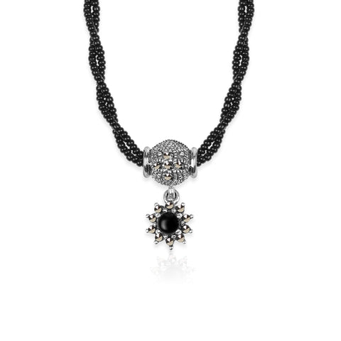Oxidised Silver Two Layer Beaded Sunflower Mangalsutra