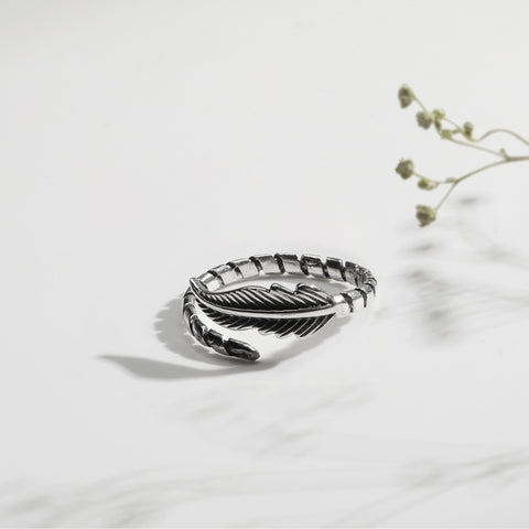 Oxidised Silver Leaf Ring
