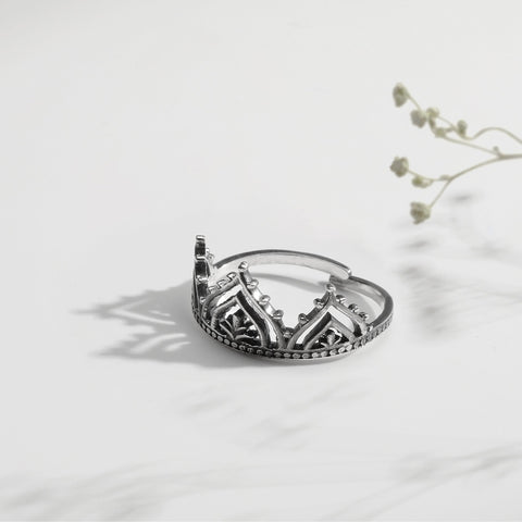 Oxidised Silver Queen's Crown Ring