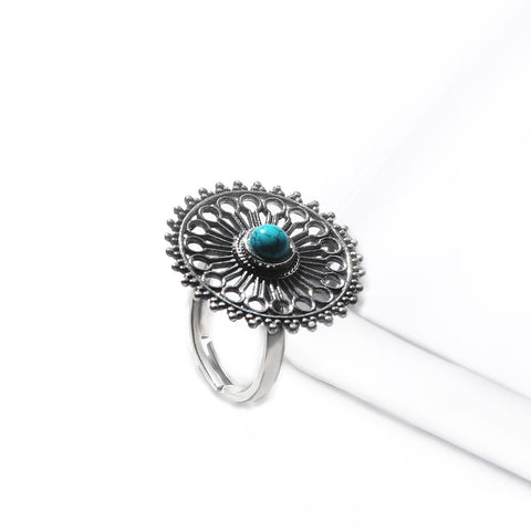 Oxidised Silver Turquoise Chakra Ring