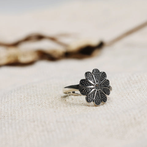 Oxidised Silver Flower Ring