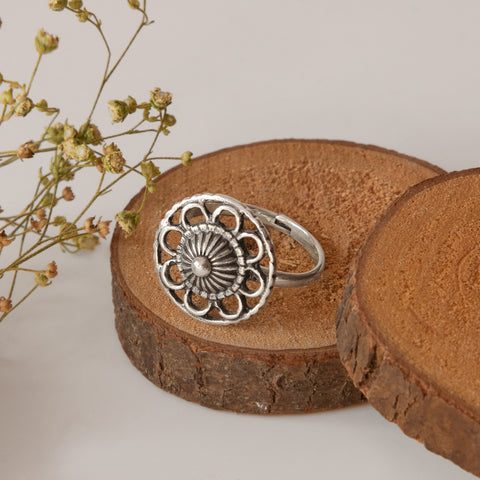 Oxidised Silver Flower Blossom Ring
