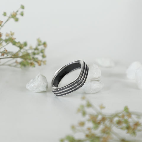 Oxidised Silver Square Ring