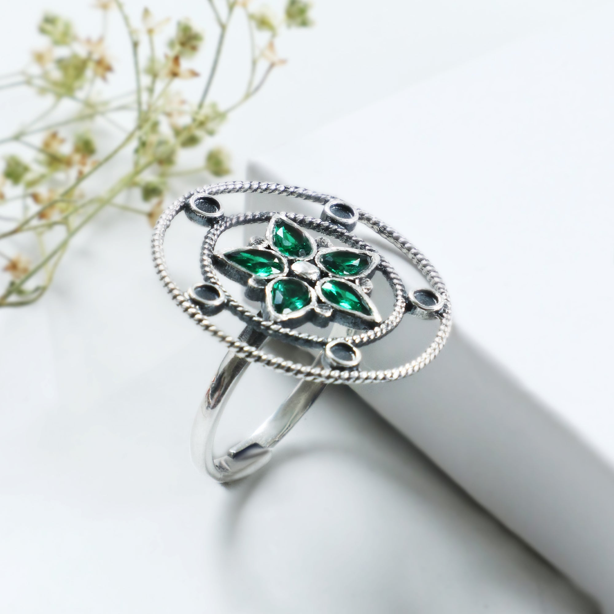 Oxidised Silver Emerald Green Flower Ring