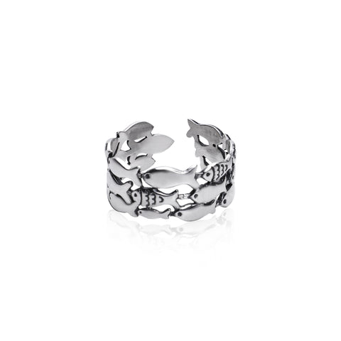 Oxidised Silver Layered Fish Ring