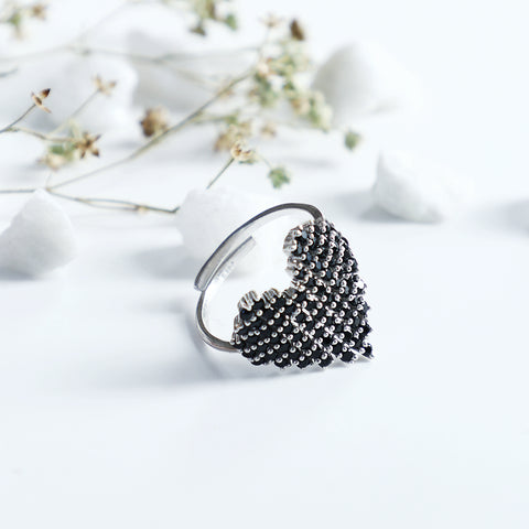 Oxidised Silver Studded Heart Ring