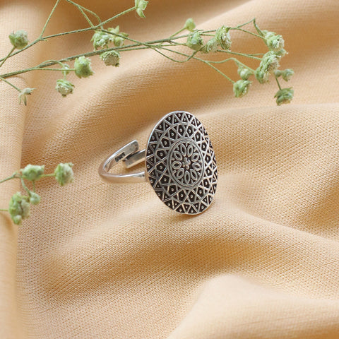 Oxidised Silver Mandala Ring