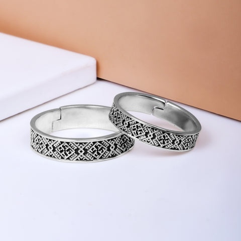 Oxidised Silver Tribal Couple Bands