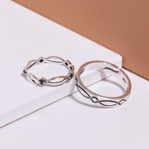 Oxidised Silver Woven Couple Bands