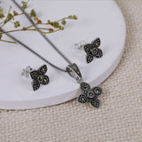Oxidised Silver Clover Set