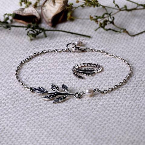 Oxidised Silver Leaf Set