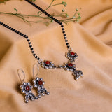 Oxidised Silver Mini Flower Mangalsutra Set