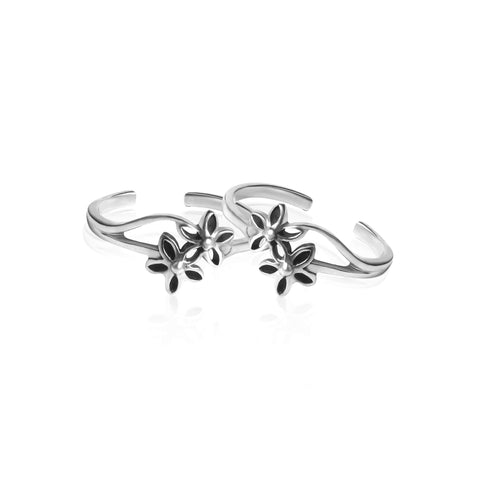 Oxidised Silver Blossom Toe Ring