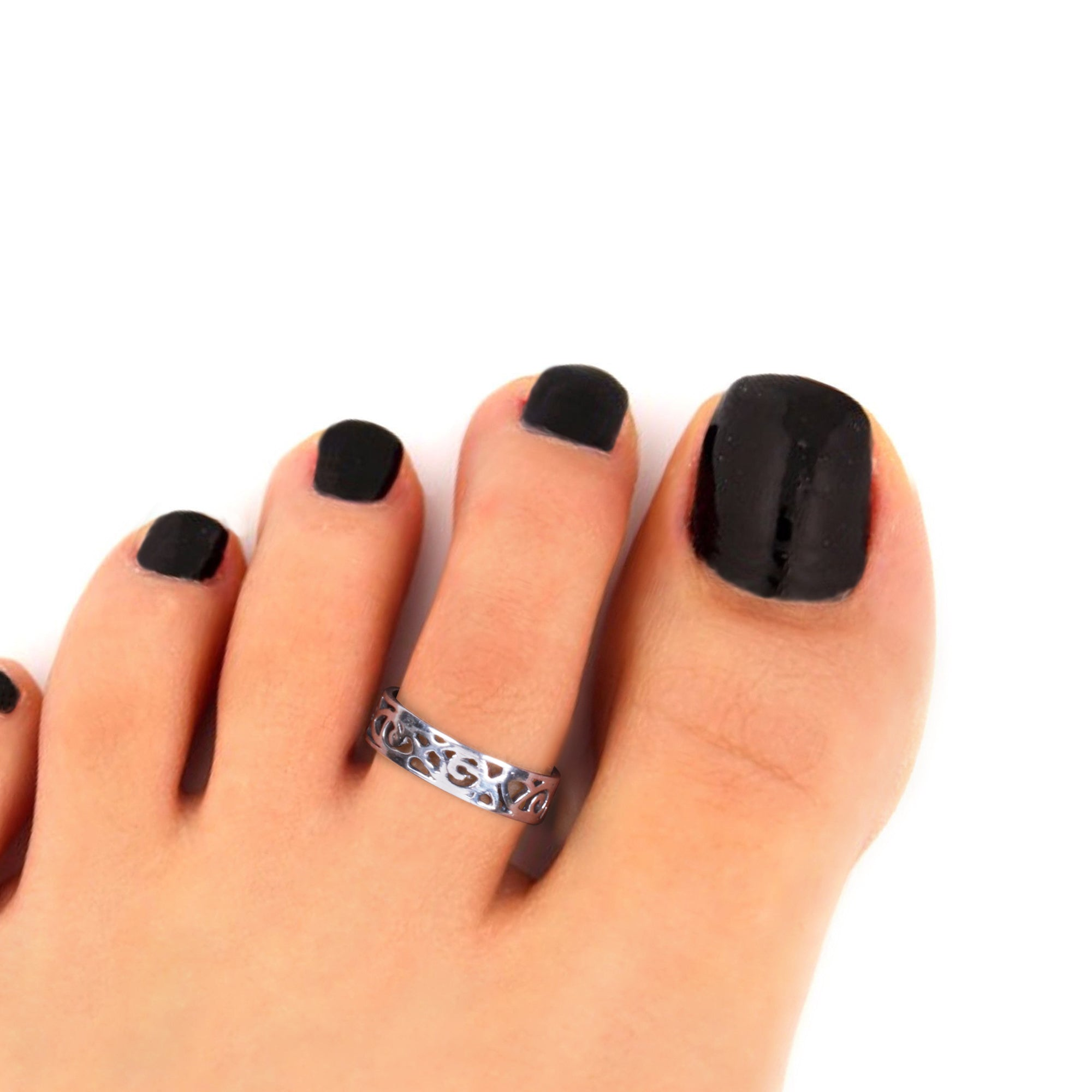 Oxidised Silver Lace Toe Ring