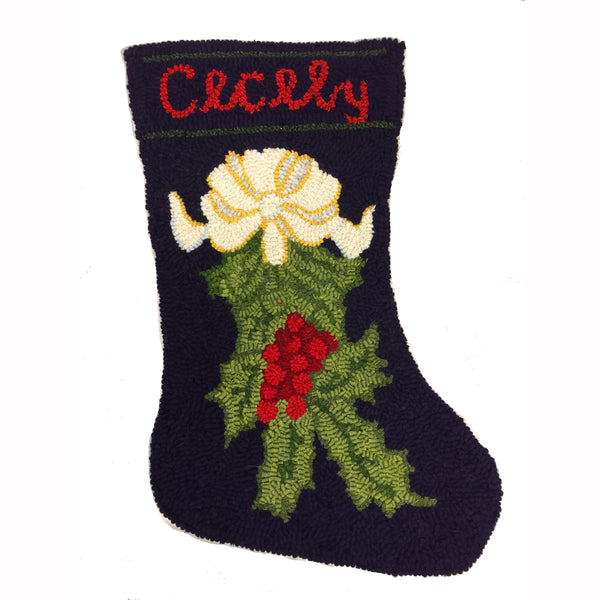Kit - Holly Branch Stocking - Rug Hooking Supplies