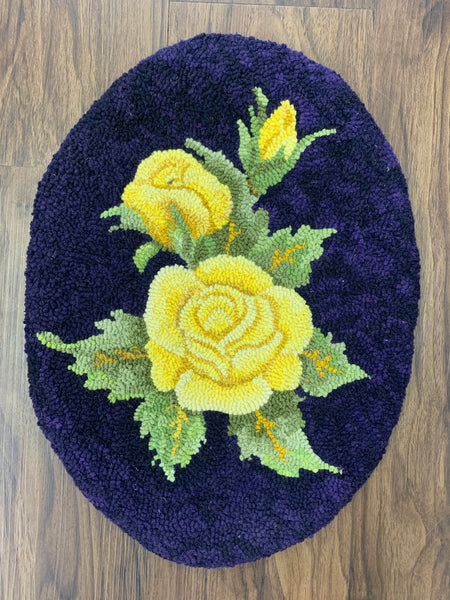 Yellow Rose Oval - Rug Hooking Supplies
