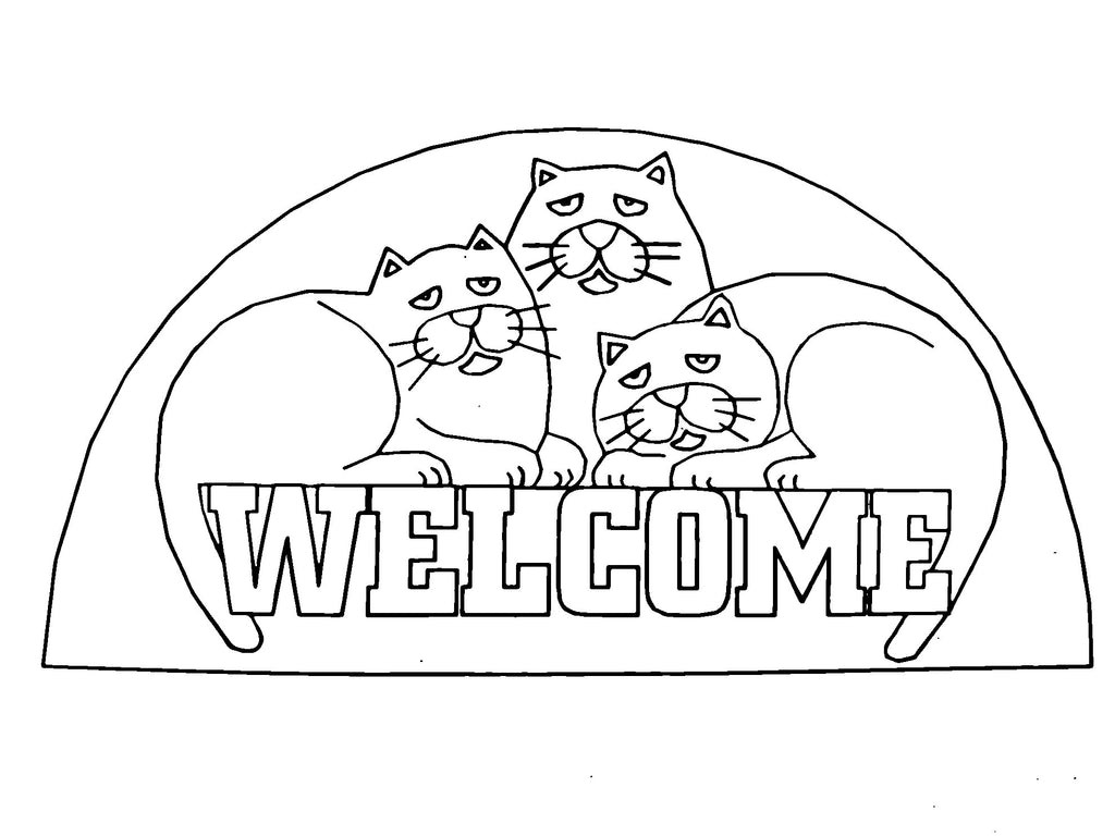 DiFranza Designs - Cat Trio Welcome Rug - Rug Hooking Supplies