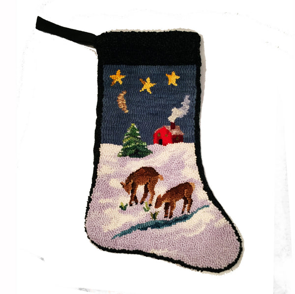Kit - Peaceful Night Stocking - Rug Hooking Supplies