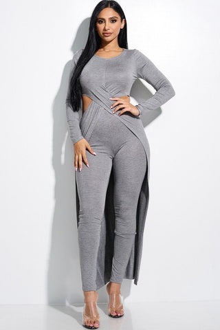 Solid Heavy Rayon Spandex Long Sleeve Crossed Over Long Top And Leggings 2 Piece Set