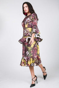 Cascade Ruffle Sleeve Frill Tiered Bottom Print Midi Dress