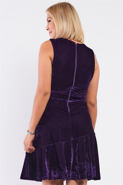 Plus Size Purple Velvet Sleeveless Deep Plunge V-neck Swing Bottom Dress