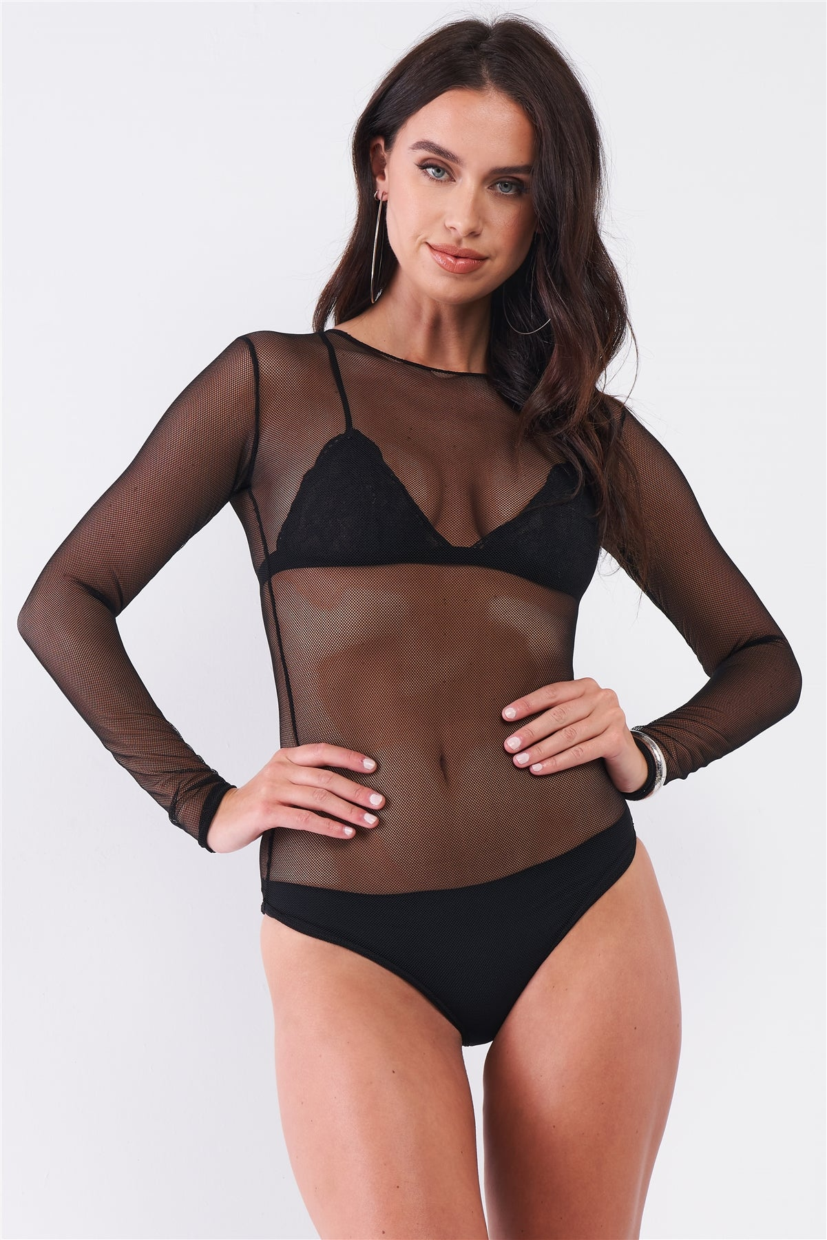 Sexy Fine Fishnet Sheer Mesh Crew Neck Long Sleeve Bodysuit