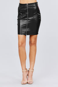 Pu Leather Mini Skirt W/zipper