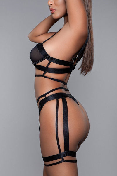 Mesh Bralette With Edgy Cut-outs  Matching Thigh Harness 2 Pc Set