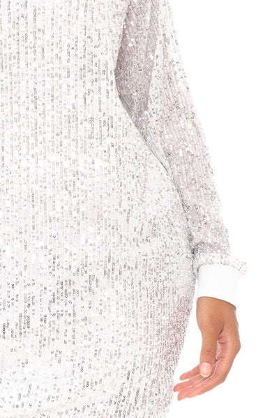 Sequin Wide Neck Boxy Mini Dress