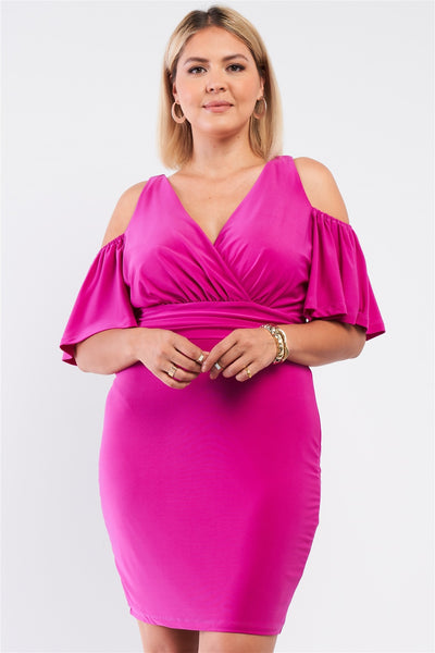 Plus Off-the-shoulder Plunging Wrap V-neck Fitted Mini Dress
